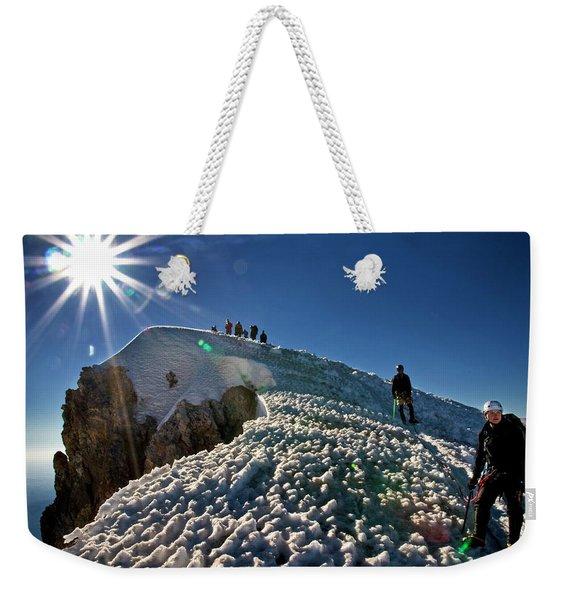 A Group Of Mountaineers Reach Weekender Tote Bag