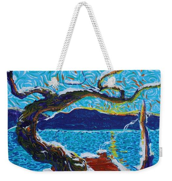 A River's Snow Weekender Tote Bag