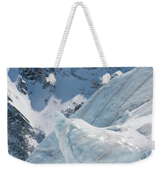 A Young Man Skis The Stockji Glacier Weekender Tote Bag