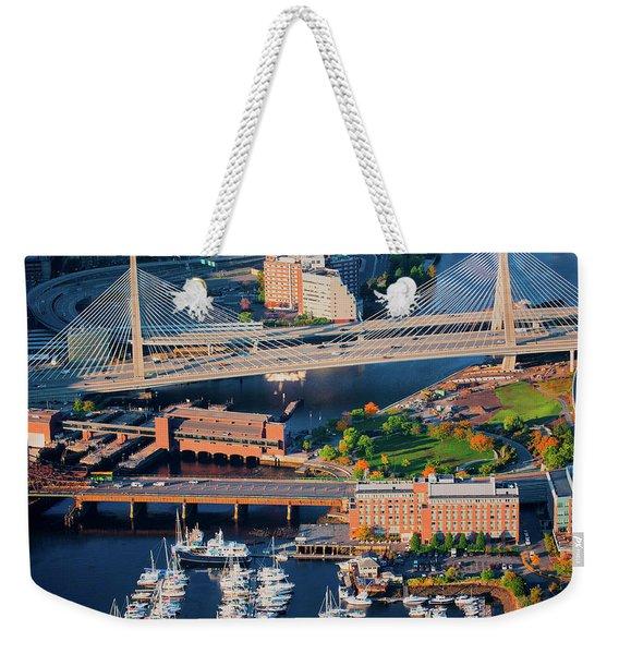 Aerial Of Boston Harbor Area Focusing Weekender Tote Bag