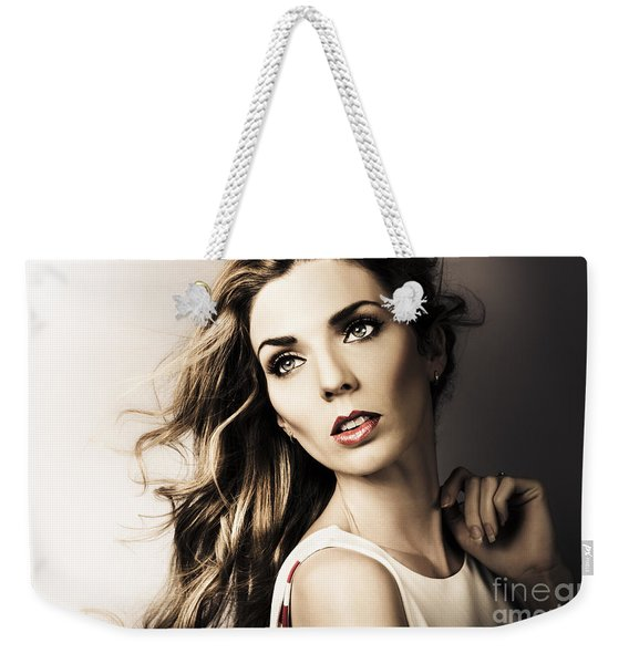 Amazing Brunette Woman. Beautiful Long Wavy Hair Weekender Tote Bag