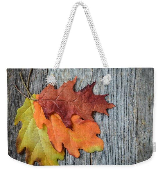 Autumn Leaves On Rustic Wooden Background Weekender Tote Bag