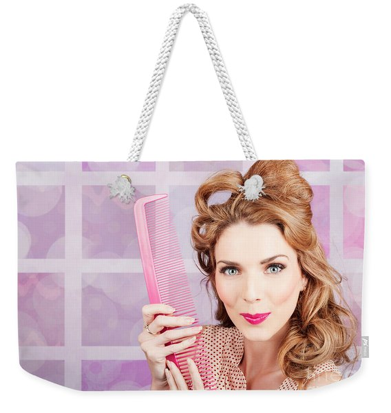 Beautiful Hairstyle Model With Beauty Hair Comb Weekender Tote Bag