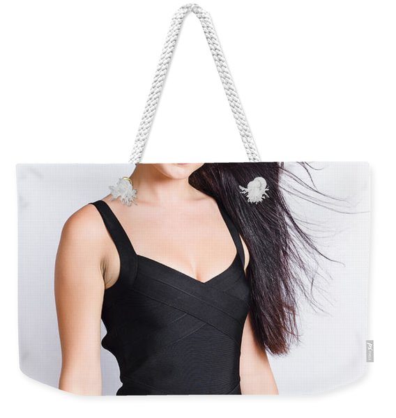 Beautiful Model With Long Straight Brunette Hair Weekender Tote Bag