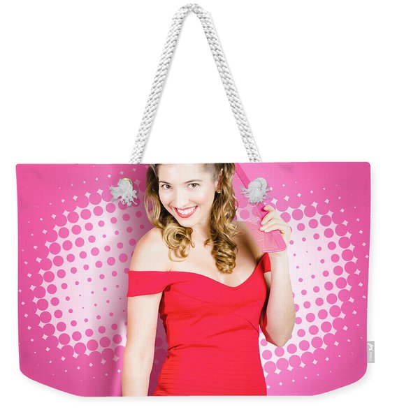 Beautiful Retro Woman. Salon Hairstyle Pin-ups Weekender Tote Bag