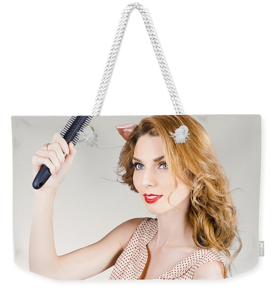 Beautiful Woman With Red Hair. Beauty Salon Model Weekender Tote Bag