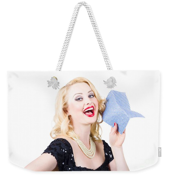 Beauty Girl Portrait In Evening Dress And Bright Make-up Weekender Tote Bag