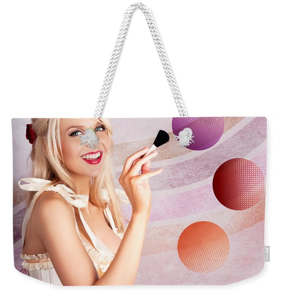 Beauty Woman Using Rouge Blush Color Pallet Weekender Tote Bag