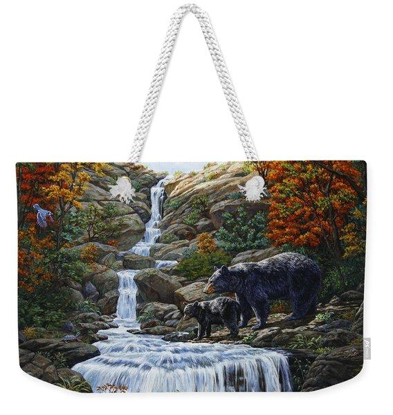 Black Bear Falls Weekender Tote Bag