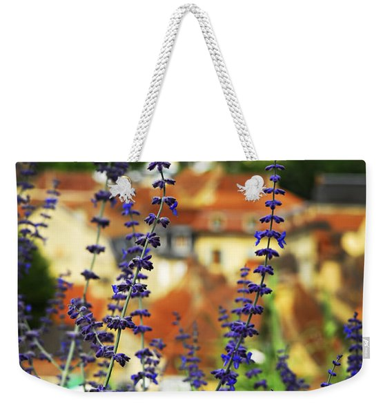 Blue Flowers And Rooftops In Sarlat Weekender Tote Bag