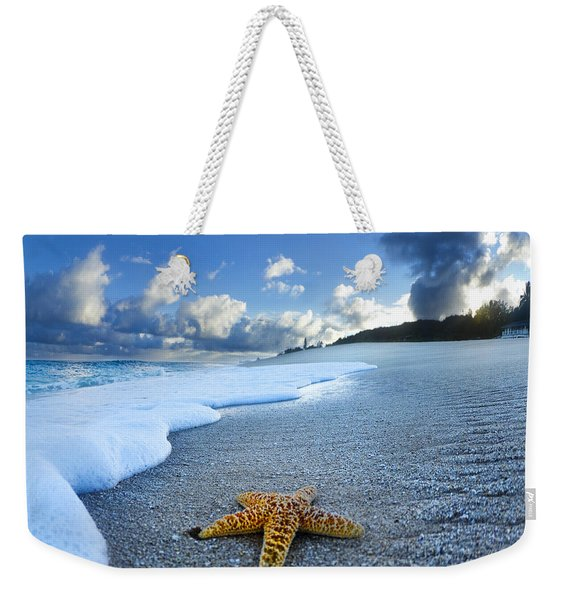 Blue Foam Starfish Weekender Tote Bag