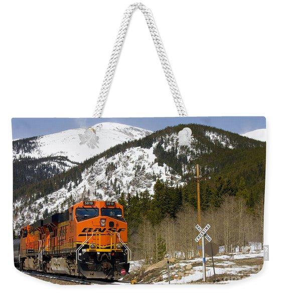 Bnsf Rolls Through Rollins Pass Colorado Weekender Tote Bag