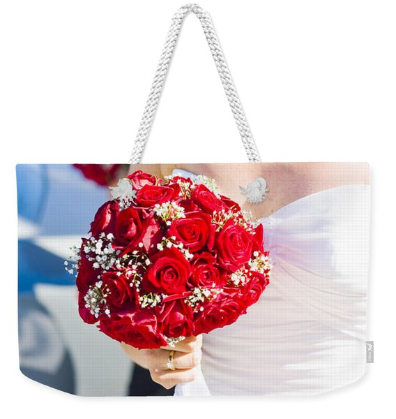 Bride Holding Red Rose Flower Bunch Weekender Tote Bag