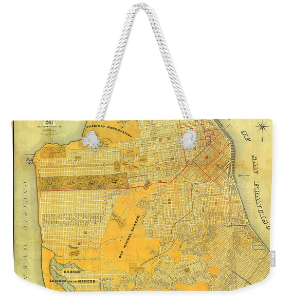 Britton And Reys Guide Map Of The City Of San Francisco. 1887. Weekender Tote Bag