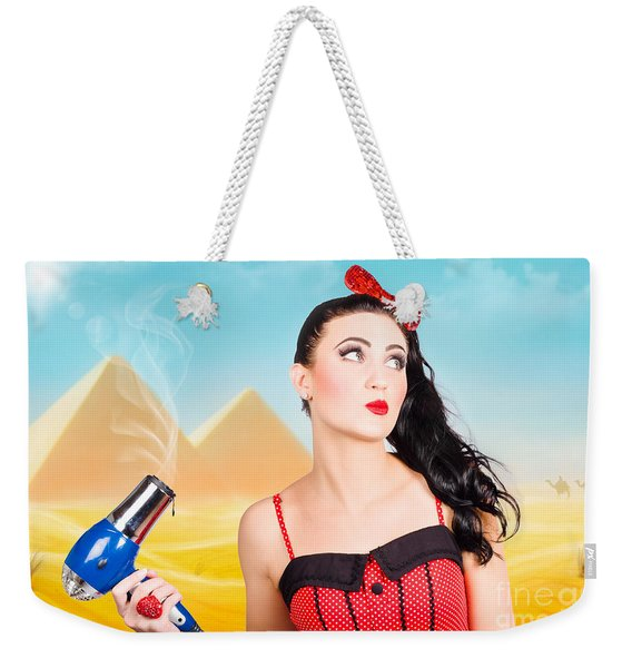 Brunette Girl Working Up A Hot Egyptian Hair Style Weekender Tote Bag