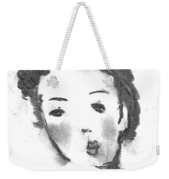 Weekender Tote Bag featuring the drawing Bubble Gum by Laurie Lundquist