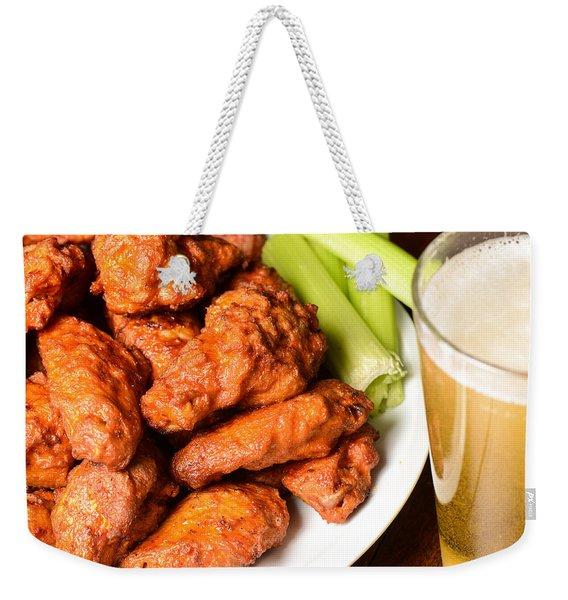 Buffalo Wings With Celery Sticks And Beer Weekender Tote Bag