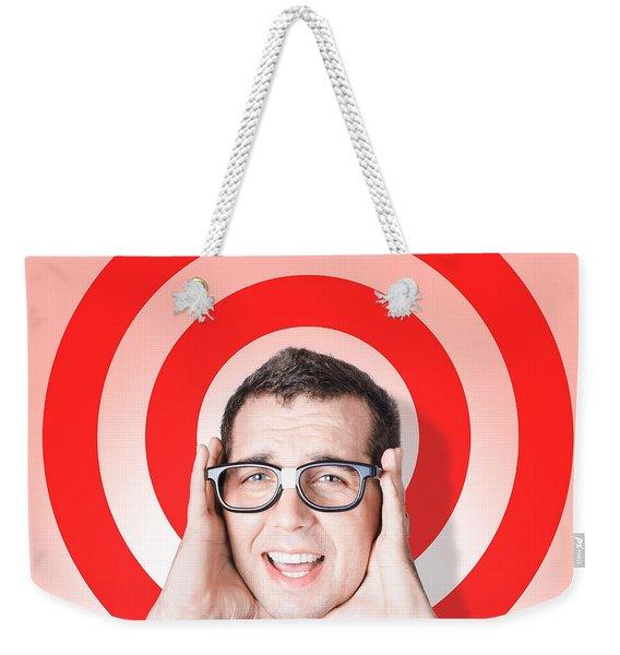 Business Man In Fear On Target Background Weekender Tote Bag