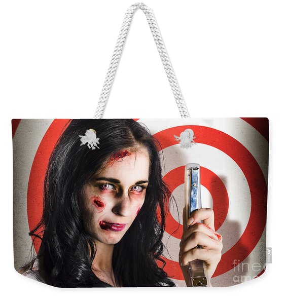 Business Victim Ready To Fire Back In Retribution Weekender Tote Bag
