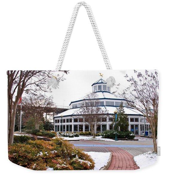 Carousel Building In The Snow Weekender Tote Bag