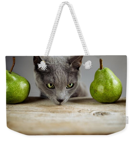 Cat And Pears Weekender Tote Bag