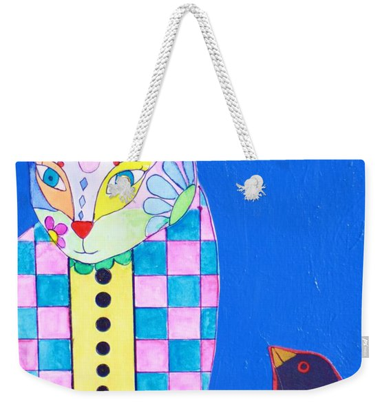 Checkered Cat Weekender Tote Bag