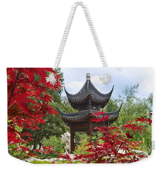 Chinese Garden With Pagoda And Lake. Weekender Tote Bag