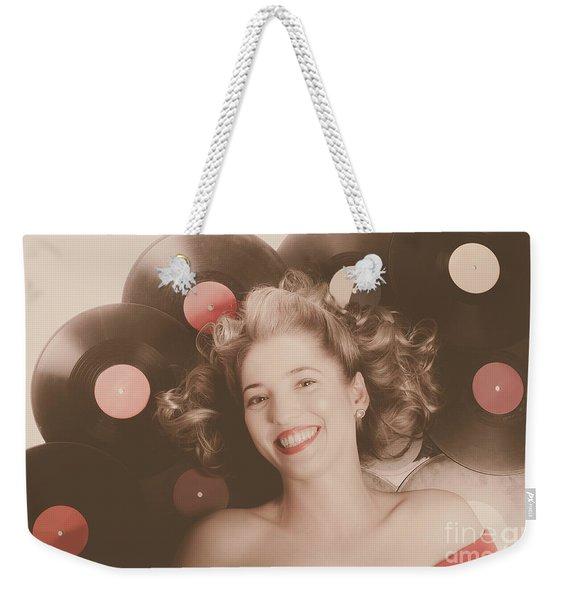 Classic Pin Up Girl On Vintage Vinyl Lp Records Weekender Tote Bag