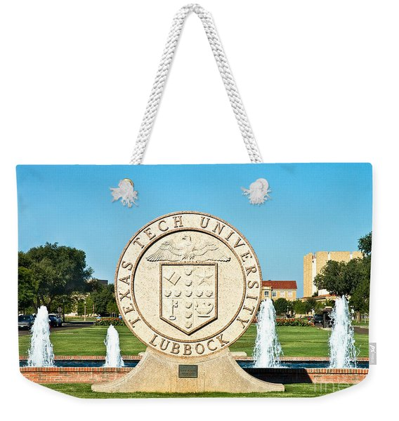 Weekender Tote Bag featuring the photograph Classical Image Of The Texas Tech University Seal  by Mae Wertz