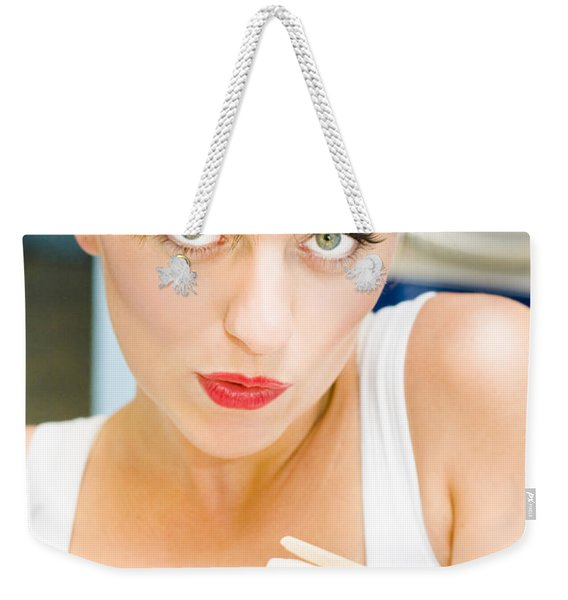 Cleaning Lady Holding Pegs Weekender Tote Bag