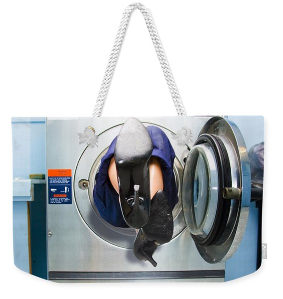 Cleaning Lady Trapped In Washing Machine Weekender Tote Bag