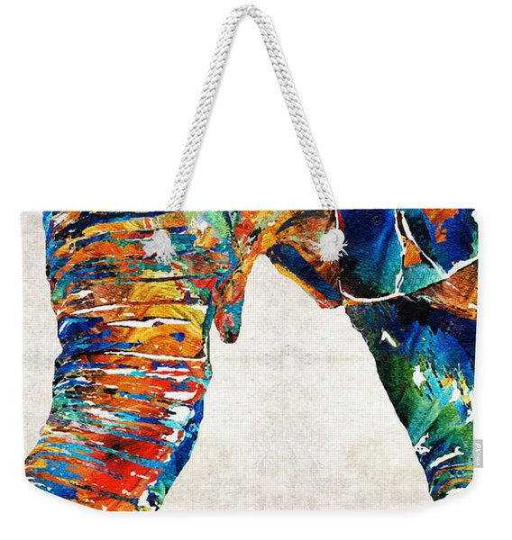 Colorful Elephant Art By Sharon Cummings Weekender Tote Bag