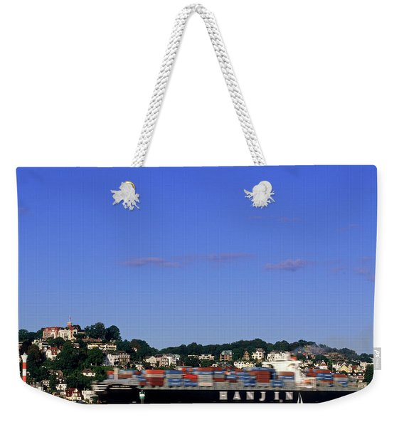 Container Ship On Elbe River Passing Weekender Tote Bag