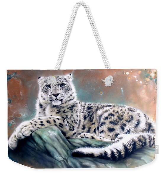 Weekender Tote Bag featuring the painting Copper Snow Leopard by Sandi Baker