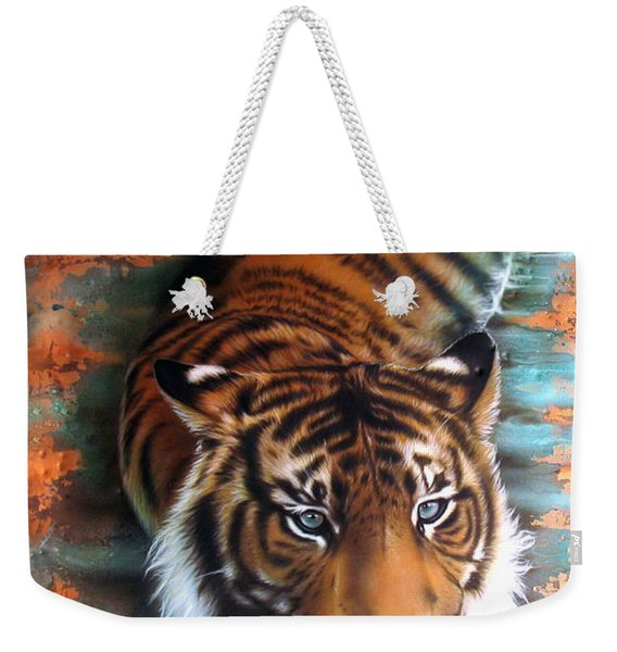 Weekender Tote Bag featuring the painting Copper Tiger II by Sandi Baker