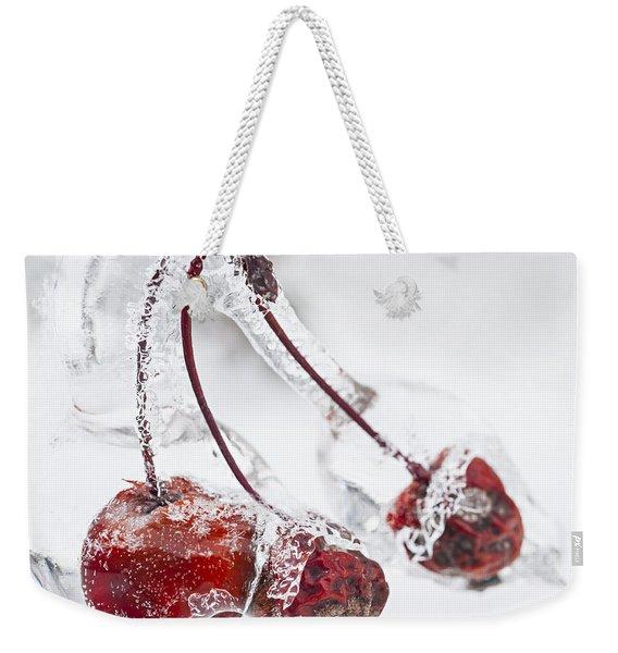 Crab Apples On Icy Branch Weekender Tote Bag