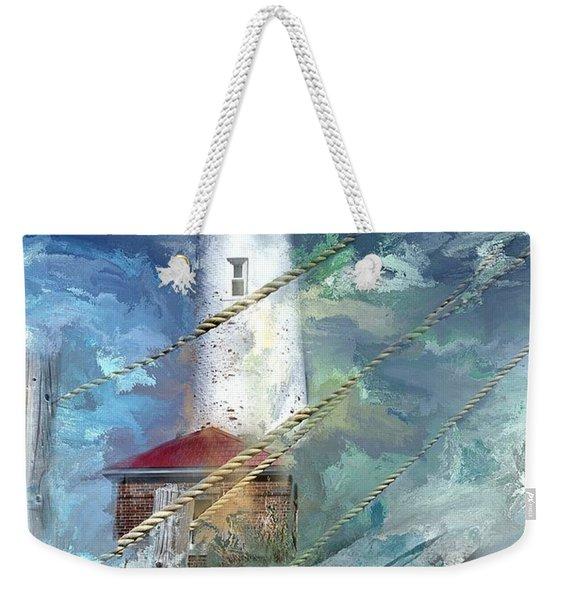 Crisp Point Lighthouse Michigan Weekender Tote Bag