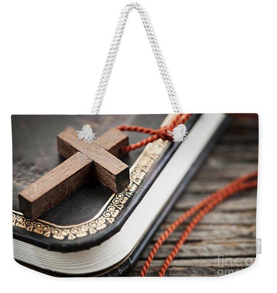 Cross On Bible Weekender Tote Bag