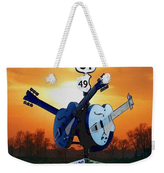 Crossroads Sunset  Blues Highway 61 Weekender Tote Bag