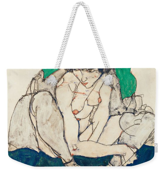 Crouching Woman With Green Headscarf Weekender Tote Bag
