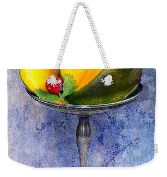 Cut Mango On Sterling Silver Dish Weekender Tote Bag