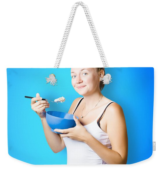 Cute Female Lifestyle Model With Oats And Porridge Weekender Tote Bag