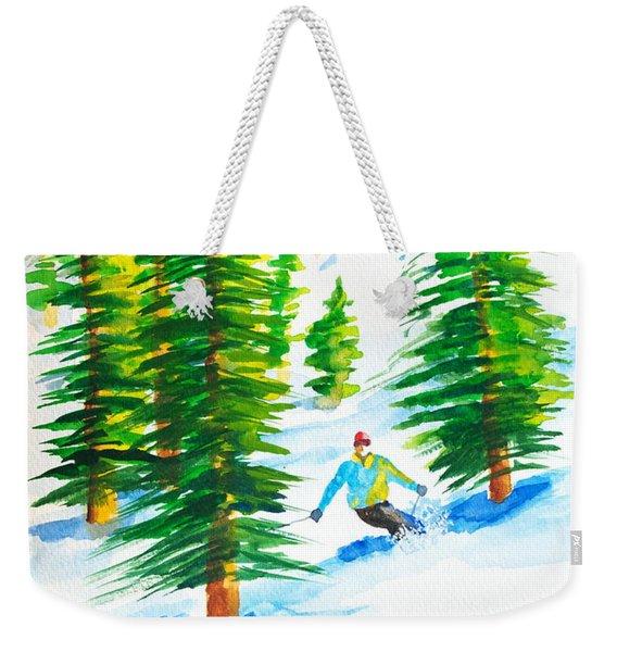 David Skiing The Trees  Weekender Tote Bag