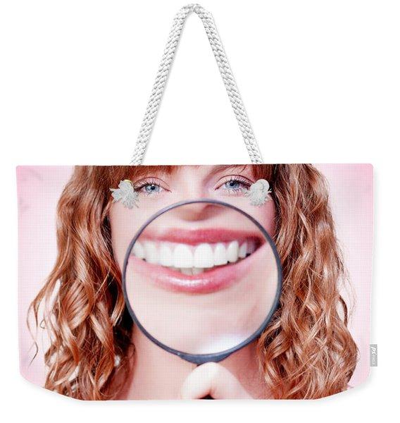 Dentist Showing White Teeth In A Dental Checkup Weekender Tote Bag