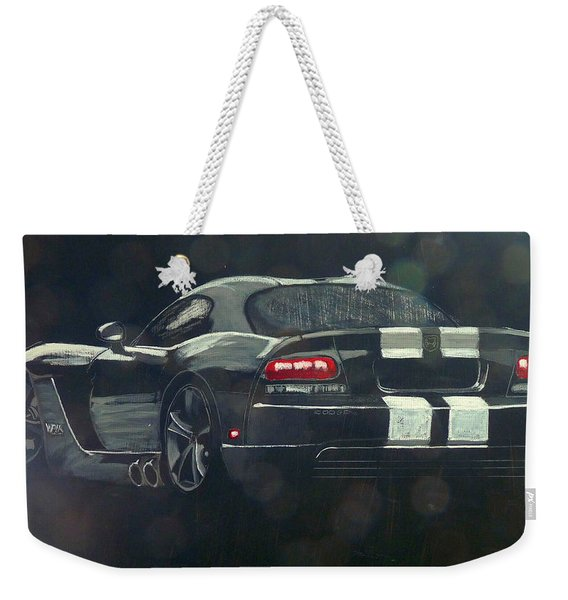 Weekender Tote Bag featuring the painting Dodge Viper 2 by Richard Le Page