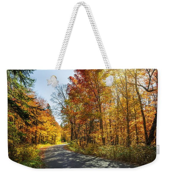 Fall Forest Road Weekender Tote Bag