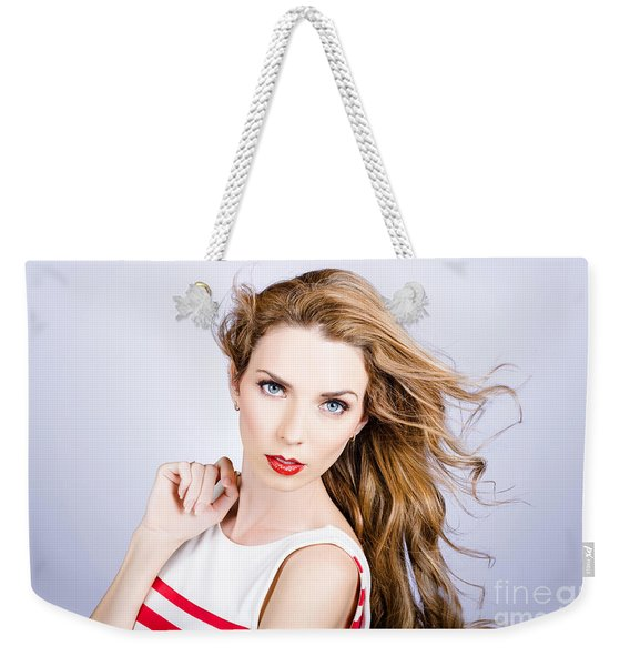 Fashion Beauty Girl. Beautiful Woman Long Red Hair Weekender Tote Bag