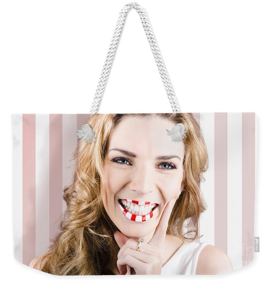 Fashion Cosmetic Lifestyle. Retro Makeup Woman Weekender Tote Bag