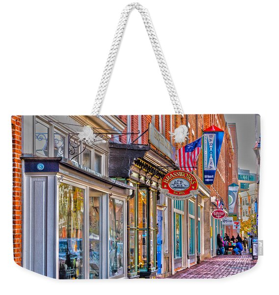 Weekender Tote Bag featuring the photograph Federal Hill Storefronts by William Norton