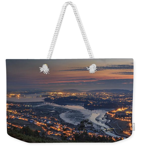 Ferrol's Ria Panorama From Mount Ancos Galicia Spain Weekender Tote Bag